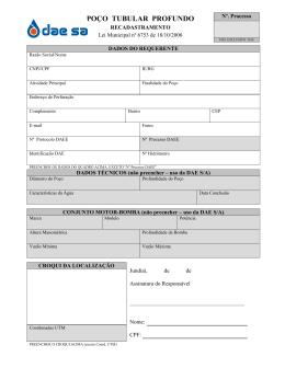 Formulário 3: Poços – Recadastramento