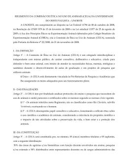 REGIMENTO DA COMISSÃO DE ÉTICA NO USO DE