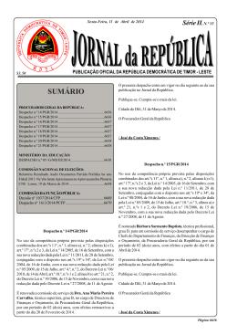Série II, N.° 15 - Jornal da República