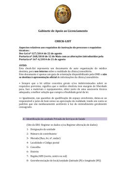 Gabinete de Apoio ao Licenciamento CHECK-LIST