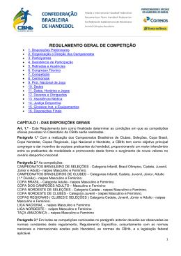 REGULAMENTO GERAL DE COMPETIÇÃO