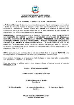 PREFEITURA MUNICIPAL DE LIMEIRA CONCURSO