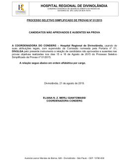 HOSPITAL REGIONAL DE DIVINOLÂNDIA