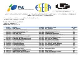Lista dos participantes para 1º Período da Educação Infantil