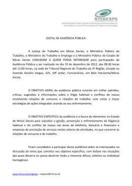 EDITAL DE AUDIÊNCIA PÚBLICA A Justiça do