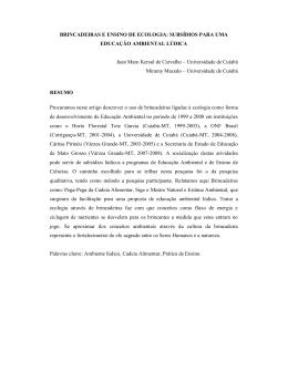 BRINCADEIRAS E ENSINO DE ECOLOGIA: SUBSÍDIOS