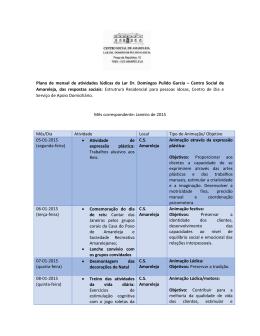 Plano de mensal de atividades lúdicas do Lar Dr. Domingos Pulido