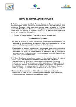 EDITAL DE CONVOCAÇÃO DE TÍTULOS