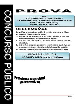 (Coveiros/Outros) da Prefeitura de Guaraí – TO 2012