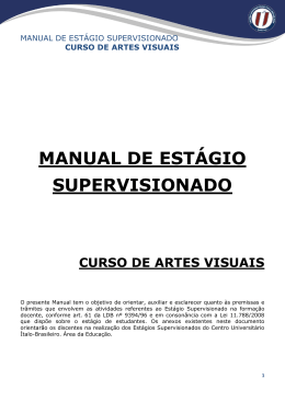 Manual de Estágio do Curso de Artes Visuais