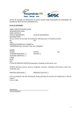 Edital para inscrições de propostas de Artes Visuais SESC da Esquina