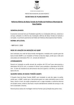 Reforma Elétrica de Baixa Tensão - Prefeitura Municipal de Dom