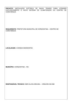 PROJETO: INSTALAÇÃO ELÉTRICA DE BAIXA TENSÃO PARA
