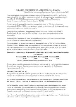balança comercial do agronegócio – brasil