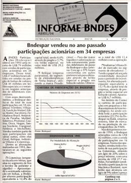 Bndespar vendeu no ano passado participacOes acionarias em 34