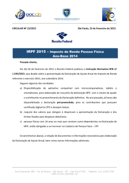 Circular 013/2015 - Declaração IRP