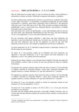 Informações EDUCAÇÃO BÁSICA – 1º, 2º e 3º ANOS