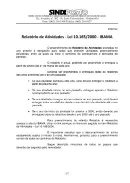 Relatório de Atividades - Lei 10.165/2000