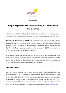 Ampla registra lucro líquido de R$ 493 milhões no ano de 2012
