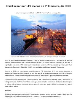 Brasil exportou 1,4% menos no 3º trimestre, diz IBGE