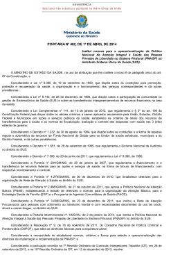Ministério da Saúde PORTARIA Nº 482, DE 1º DE ABRIL DE 2014