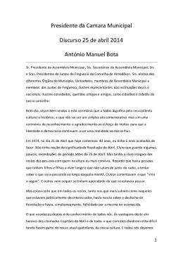 Presidente da Camara Municipal Discurso 25 de abril 2014 António