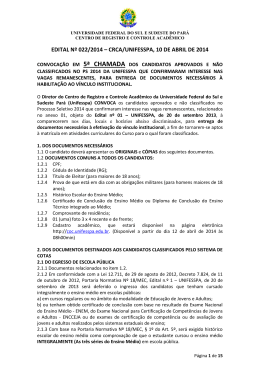 EDITAL Nº 022/2014 – CRCA/UNIFESSPA, 10 DE ABRIL DE 2014