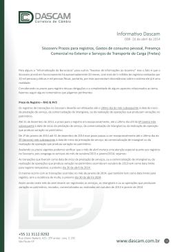 INFORMATIVO 008 - 16 de abril de 2014 Siscoserv