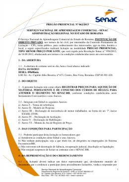 PREGÃO PRESENCIAL Nº 062/2013 SERVIÇO NACIONAL
