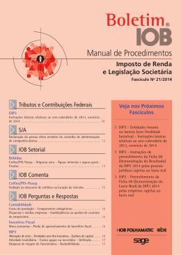 IOB - Imposto de Renda - nº 21/2014