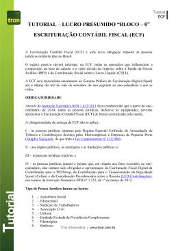 """TUTORIAL – LUCRO PRESUMIDO """"BLOCO – 0"""" ESCRITURAÇÃO"""