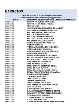 Lista de Selecionados 2015