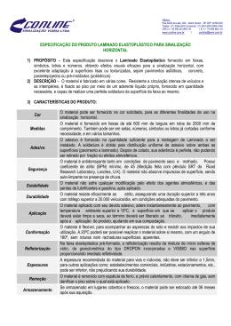 ESPECIFICAÇÃO DO PRODUTO LAMINADO ELASTOPLÁSTICO