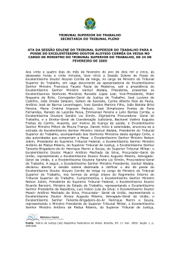 TRIBUNAL SUPERIOR DO TRABALHO SECRETARIA DO