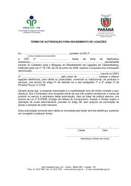 Termo de autorização para recebimento de ligações