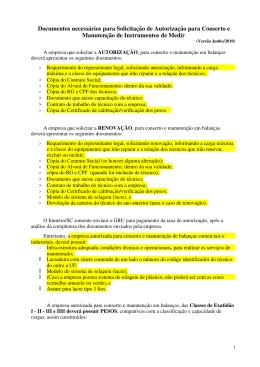 Documentos necessários para Solicitação de Autorização para