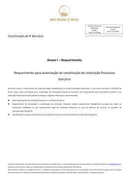 Requerimento para autorização de constituição de instituição