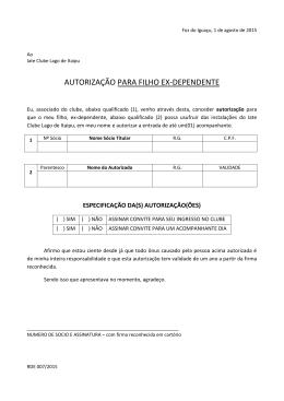 AUTORIZAÇÃO PARA FILHO EX-DEPENDENTE