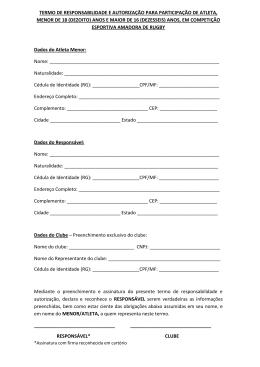 TERMO DE RESPONSABILIDADE E AUTORIZAÇÃO PARA