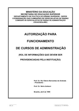 autorização para funcionamento de cursos de administração