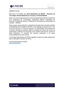 Bem-vindo à 3ª Edição dos Anais Eletrônicos do ENTEC