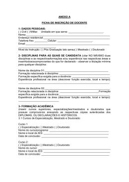 Ficha de inscrição e Pontuação para avaliação Curricular