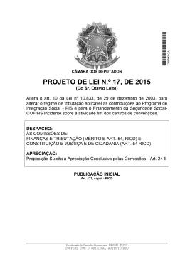 PROJETO DE LEI N.º 17, DE 2015
