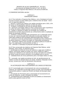 PROJETO DE LEI DE CONVERSÃO Nº , DE 2013