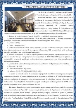 140ª Reunião da CIT – 11 de junho de 2015