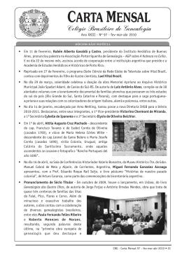 Carta Mensal nº 97 - Colégio Brasileiro de Genealogia