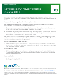 Novidades do CA ARCserve Backup r16.5 Update 3