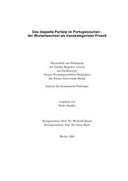 Das doppelte Partizip im Portugiesischen
