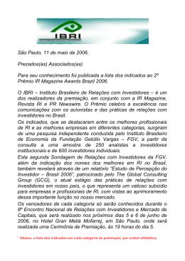 11/05/2006 IR Magazine Awards Brazil 2006