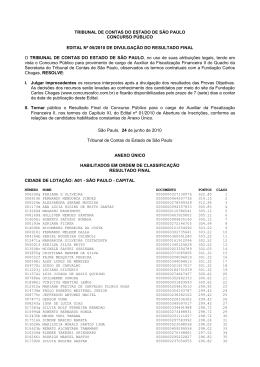 tribunal de contas do estado de são paulo concurso público edital nº